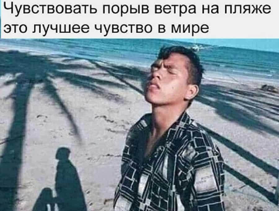 Мемы с прикольными картинками и порыв ветра на пляже