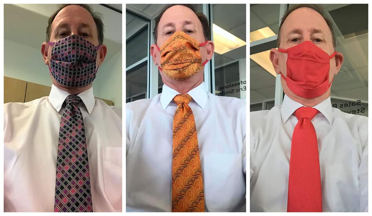 Стильная пандемия: мужик ежедневно подбирает маску в тон галстуку и уже стал иконой моды