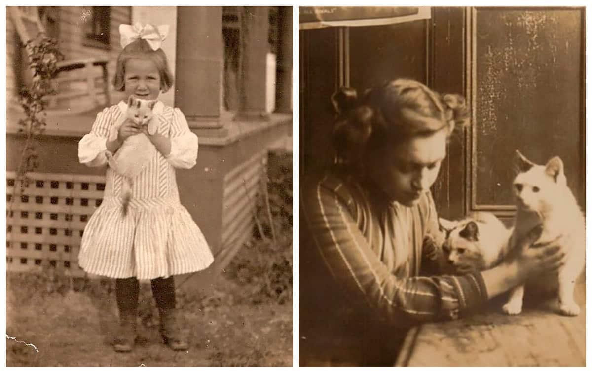 Сто лет назад у людей не было инстаграма. Но любовь к котикам была! (30 фото)