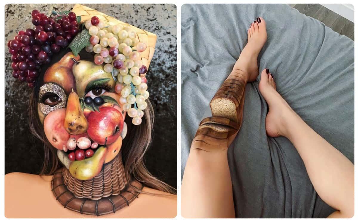 Талантливая визажистка превращает свое тело в еду при помощи макияжа и оптических иллюзий