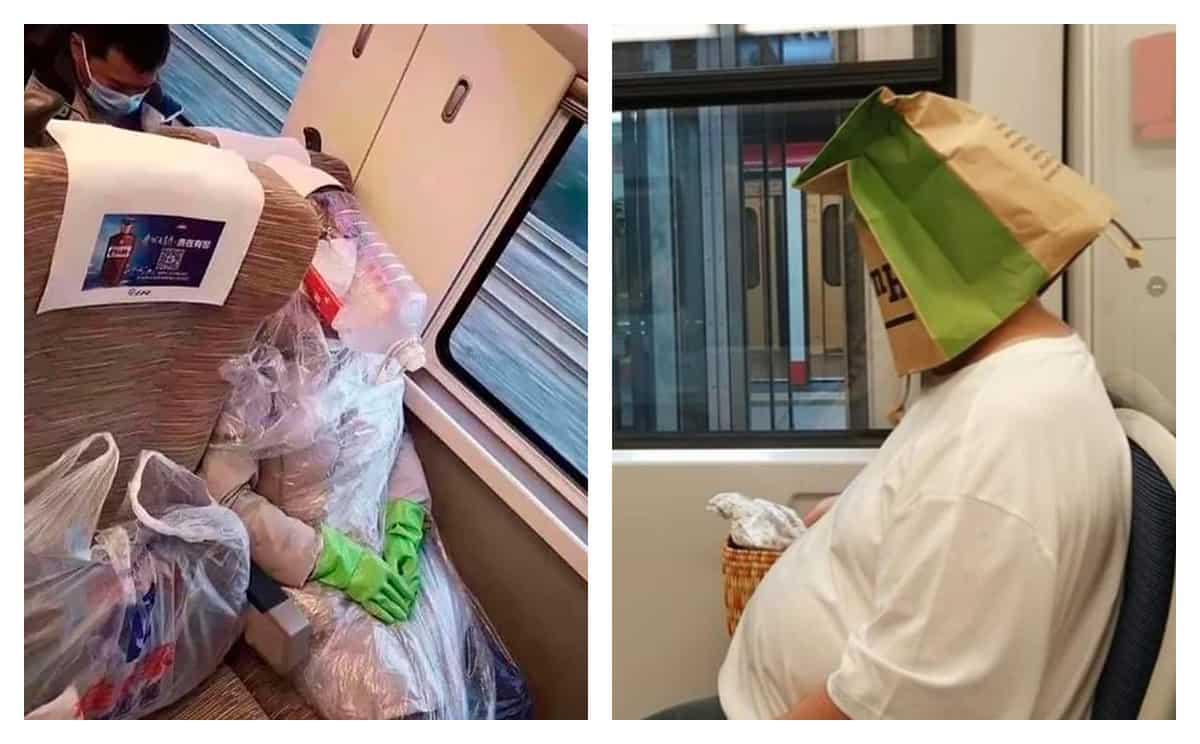 И снова модники метро со свежей коллекцией антиврусных масок