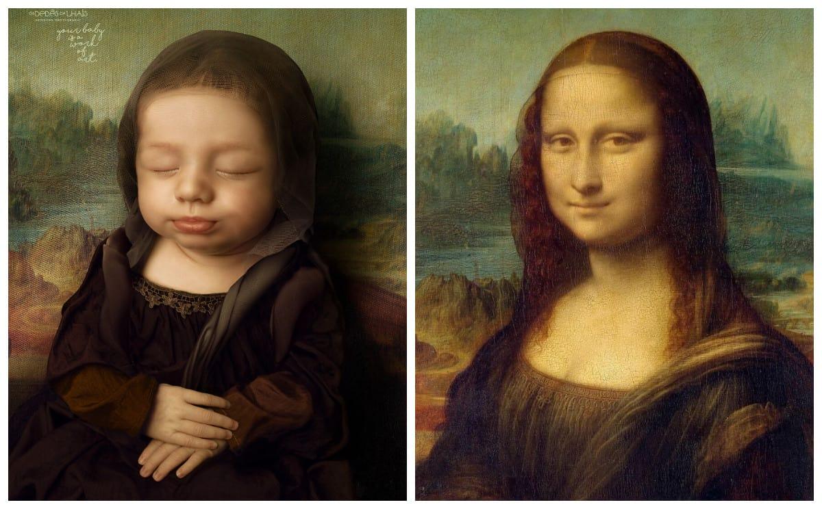 Для фотосессии своей новорожденной дочери этот папа воссоздал знаменитые картины, которые любит его жена