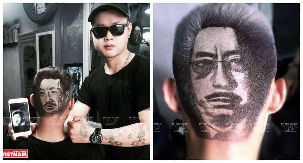 Парикмахер из Вьетнама использует затылки людей как холст для картины