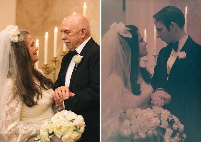 Горько! Супружеская пара повторила фото своей свадьбы 50-летней давности