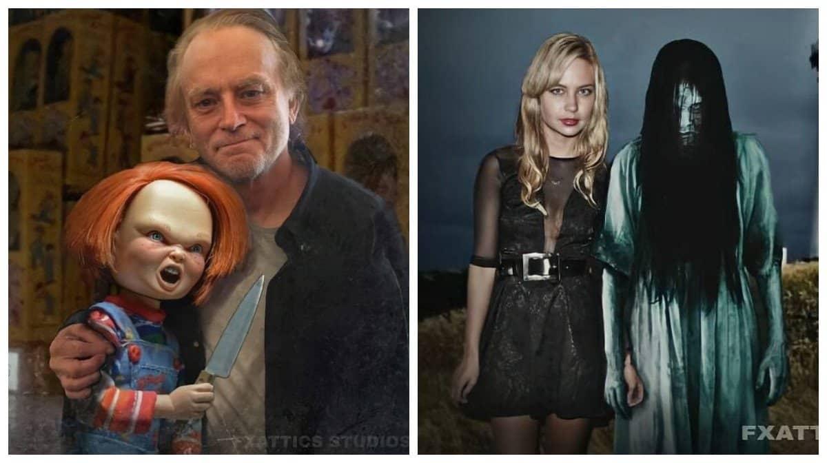 Художник изобразила знаменитых актеров рядом с их зловещими персонажами