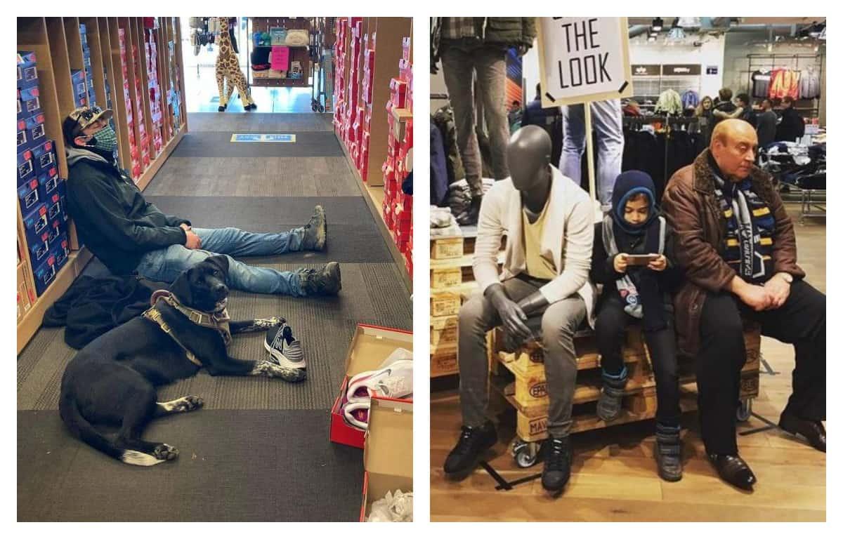Уровень страданий – шоппинг: Мужчины в магазинах ждут своих подруг (20+ фото)