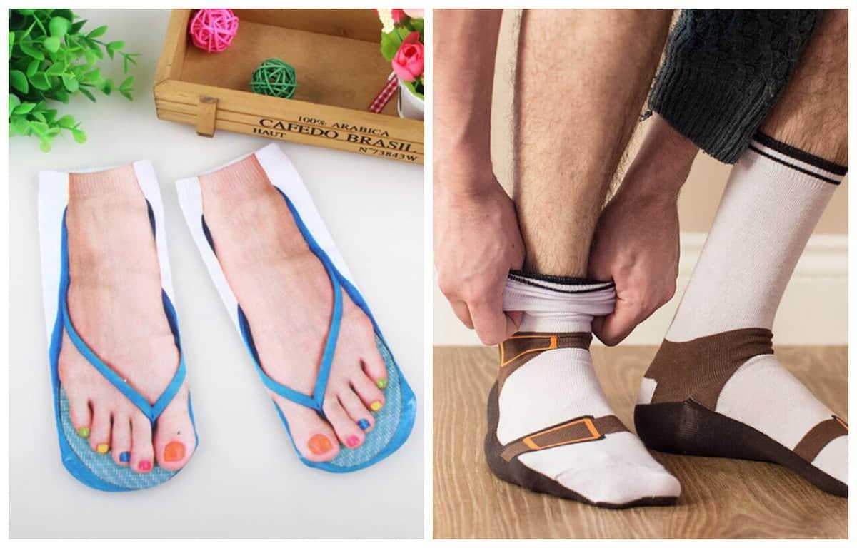 Носочки с принтом человеческих ног в сандалиях и другие текстильные извращения!