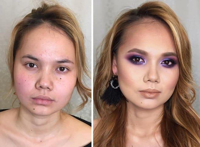 Разница на лице - 23 фото девушек до и после нанесения макияжа